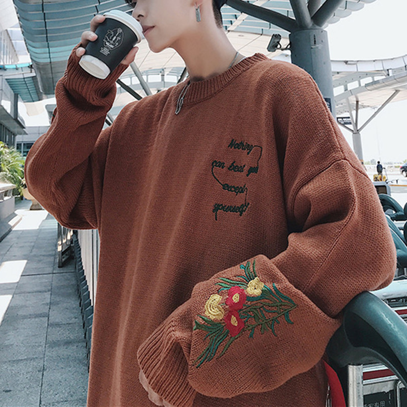 Autumn And Winter New Sweater Men Warm Fashion Flower Embroidery Casual Loose O-neck Long-sleeved Knit Pullover Male Clothes