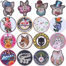 Pulaqi Embroidered Punk Skull Stickers Batman Patches Piglet Pink Pig Film Iron On For Clothes Kids Men Women Decoration F