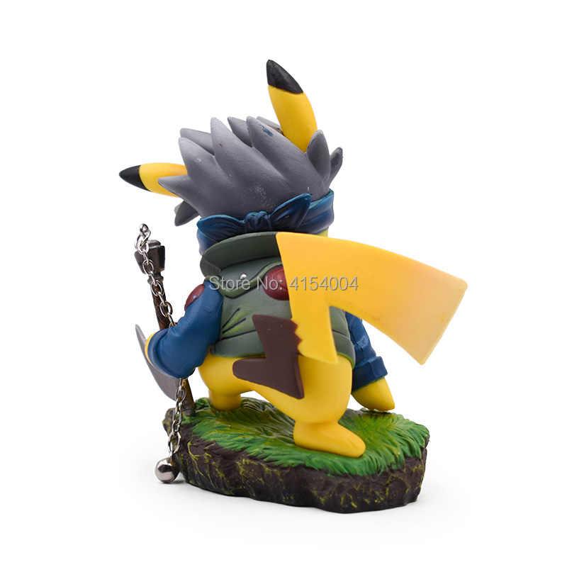 Anime Dos Desenhos Animados Pikachu Cosplay Kakashi Hatake Kakashi Naruto Action Figure Collectible Figurine DO PVC Modelo de Brinquedo de Presente de Natal 11 cm