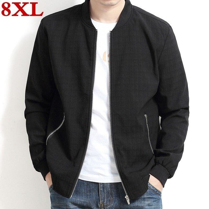 2019 Plus size 8XL 7XL 6XL Spring New Men's Bomber Zipper Jacket Male Casual Streetwear Hip Hop Slim Fit Pilot Coat Men Clothing
