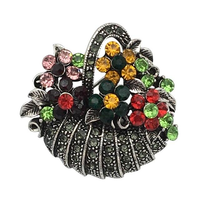 QIDIAN Cesta Da Flor Broche Para Mulheres Jóias Cor Mix Completo de Strass Férias Vestido Pins E Broches