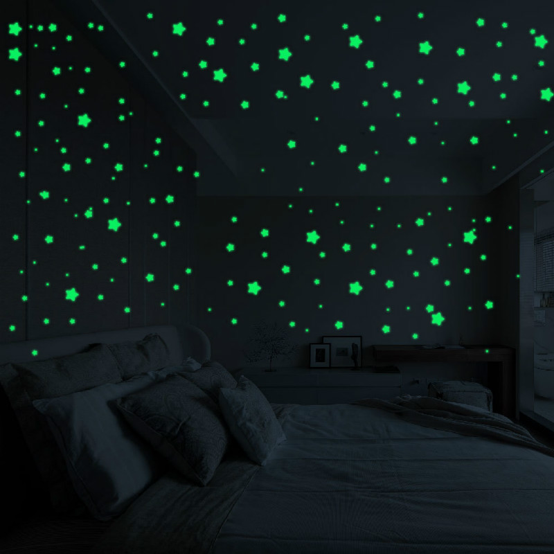 450/500 шт./компл. светящиеся наклейки в горошек со звездой детская спальня флуоресцентная живопись игрушка ПВХ Светящиеся в темноте игрушки у...