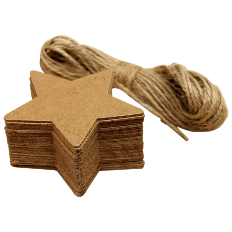 Office & School Supplies Bright 50 X Gift Tag Wrapping Paper Pendant Note Labels Gift Tags 8m Hemp Rope Stars