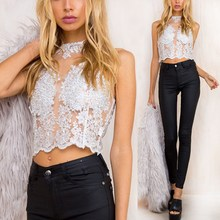 2019 Embroidery Camisole Tank Top Women Sexy Crop Top Lace Wedding Beach Party Top Hollow Out Camis Top