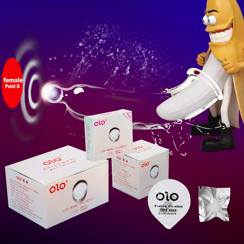 OLO G Spot Latex Condoms Big Particle With Sex Ball Penis Extender Penis Sleeve Delay Ejaculation Sex Toys For Men