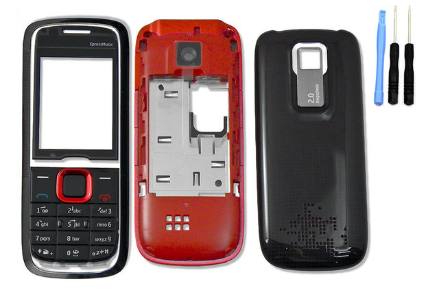 watch 880fc 7de74 For Nokia 5130 Xpressmusic Full Housing +battery Back Cover + Keypad  Lkeyboard Red Blue & Screwdriver Open Tool Kit