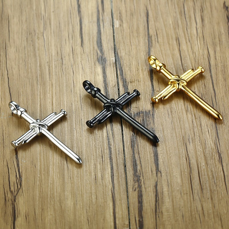 3 colors Men Chain Christian Jewelry Gifts Vintage Cross Crucifix Jesus Piece long Pendant Necklace Gold Color Titanium steel in Pendant Necklaces from Jewelry Accessories