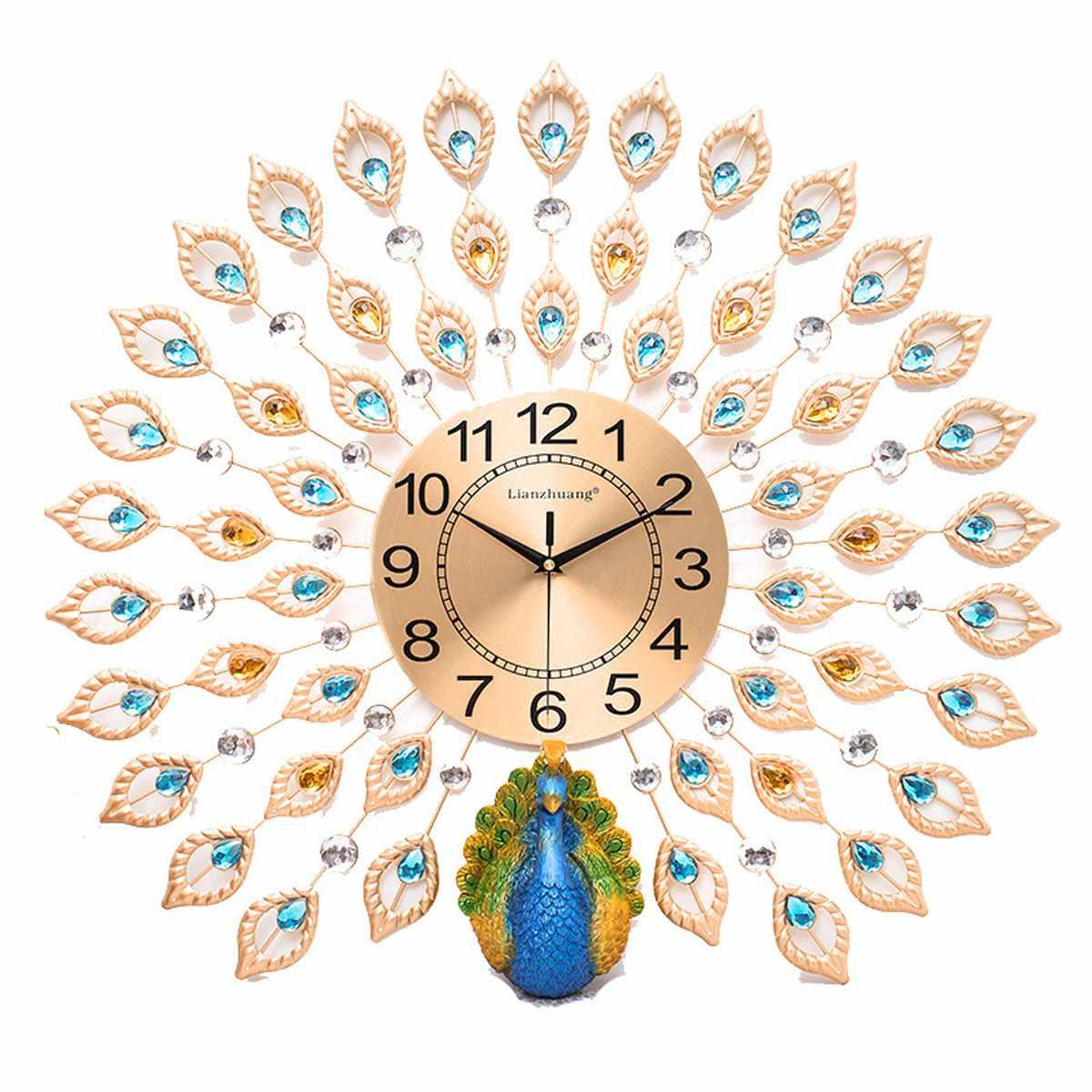 Grandes horloges murales 3D de luxe paon diamant cristal Quartz horloges murales pour la maison salon décor chambre silencieux horloge mur cadeau