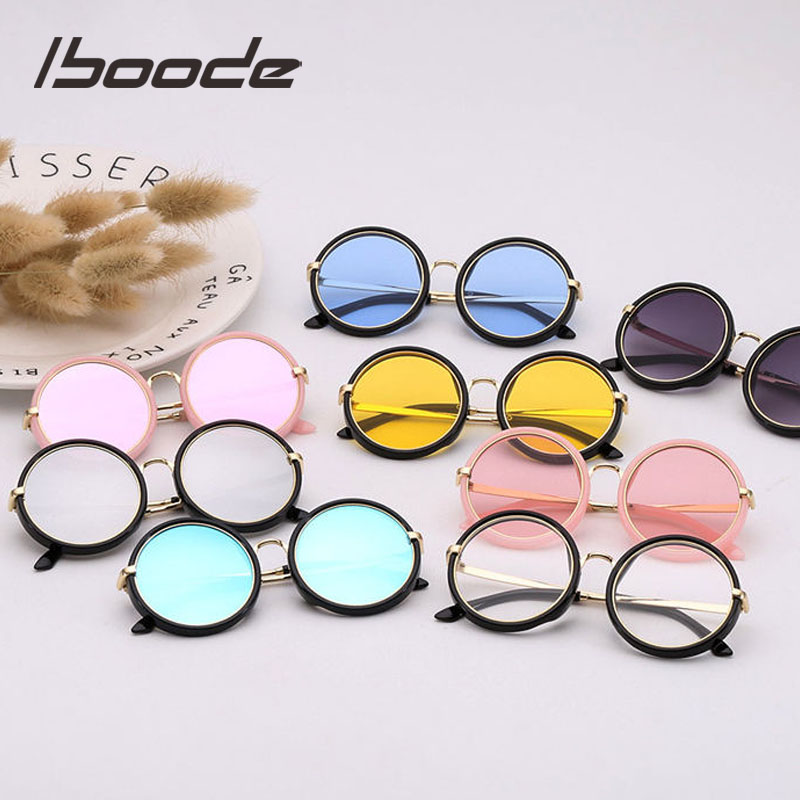 Iboode Retro Kids Sunglasses 2019 Girls Round Goggle Candy Color Lens Sun Glasses 2019 New Round Sunglasses For Boys Girls Child