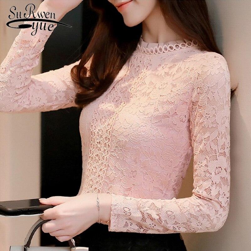 Модная одежда женские топы и блузки одежда с длинным рукавом Женские рубашки розовая блузка кружевная рубашка женские топы блузок 1516 45