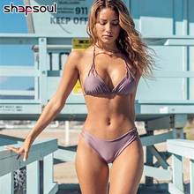 цена на String Swimsuit Women Sexy Bikini Set Push Up Bikini 2019 Women Bandage Swimsuit High Waist Thong High Leg Cut Swimwear Halter