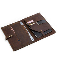 Retro Crazy Horse Leather Passport Cover Card Holder Phone Ipad 9.7 Inch Leather Case For Men Notepad Wallet Porte Carte Clutch