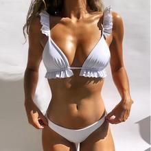 Куркума бикини с оборками 2019 микро сексуальный зеленый купальник женский пуш-ап купальник женский купальный костюм biquini летняя пляжная одежда Новинка
