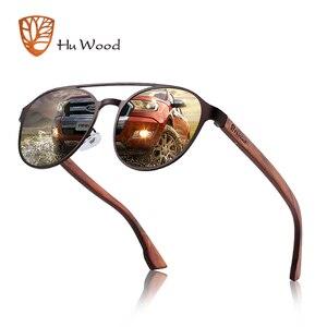 Image 1 - HU Ahşap Polarize Güneş Gözlüğü ahşap Bahar Menteşe Paslanmaz Çelik Çerçeve kadın güneş gözlüğü erkekler için Lens UV400 koruma GR8041