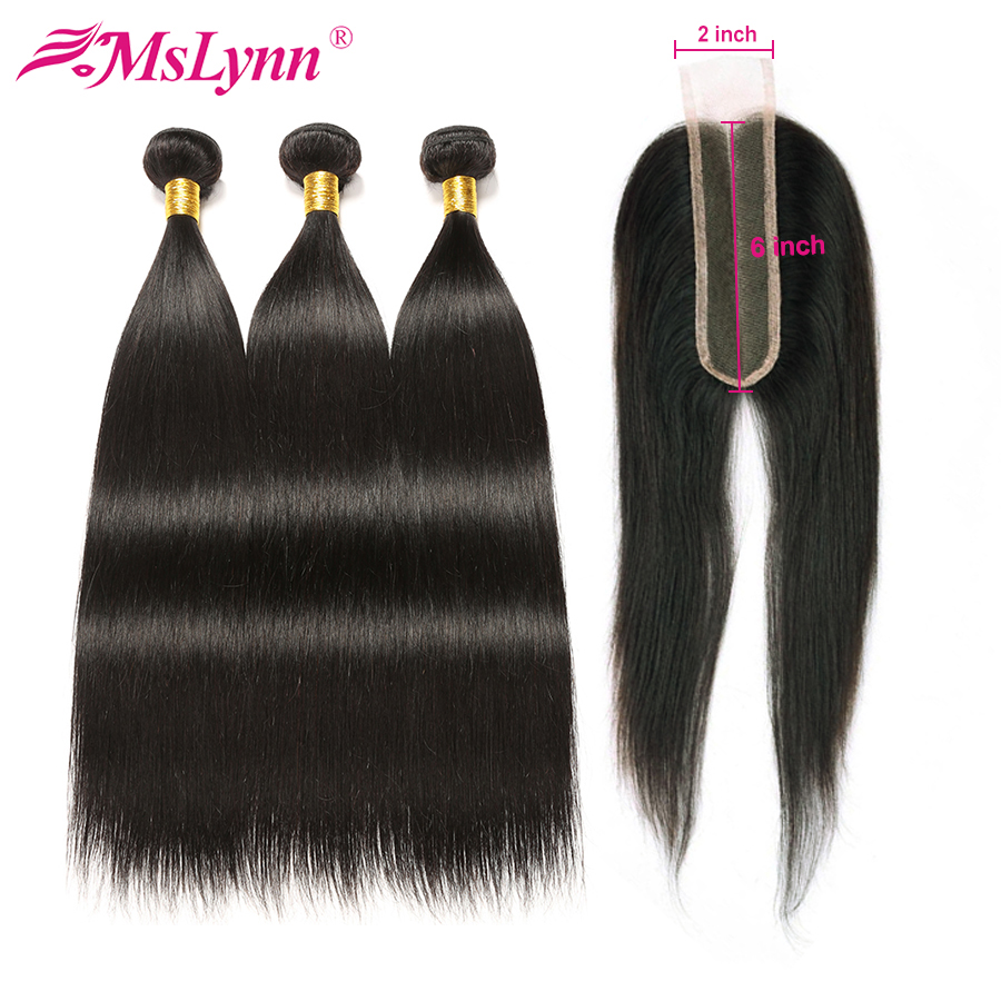 Straight Hair Bundles With Closure Brazilian Hair Weave Bundles With 2x6 Closure Human Hair Bundles With