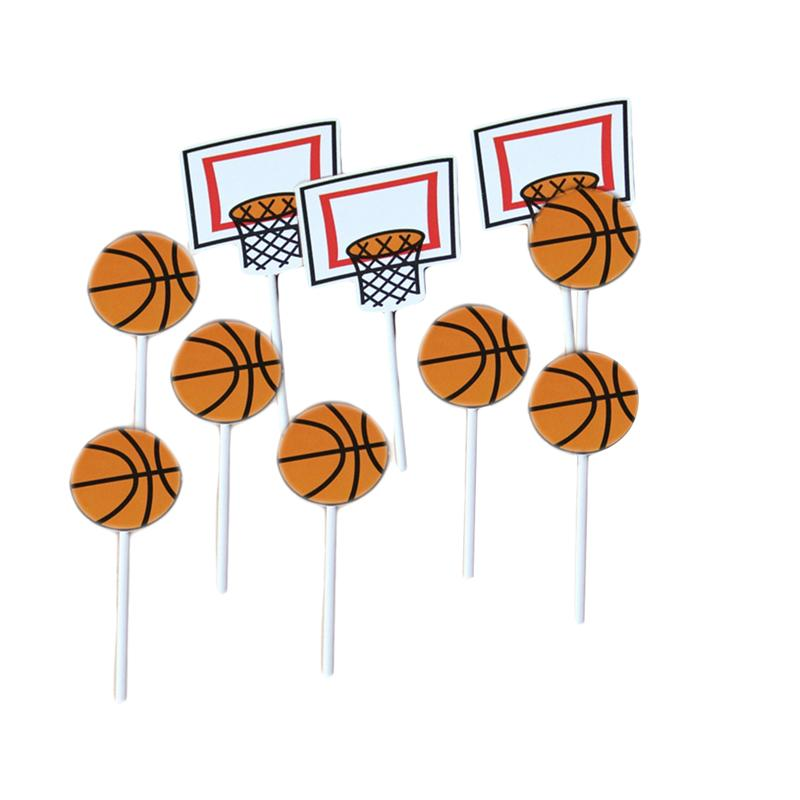 Bands Without Stones 4pcs Baseball Cake Toppers Basketball Football Muffin Cake Cupcake Picks Toppers Kids Birthday Party Decoration Supplies
