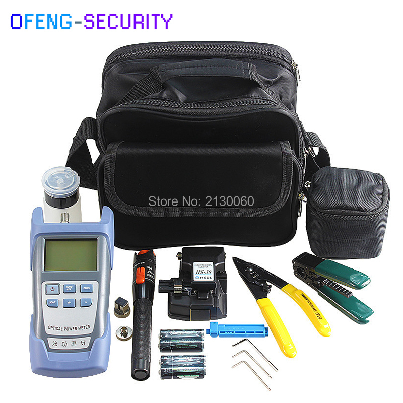 Fiber Optic FTTH Tool Kits With Fiber Cleaver HS-30, 10mw Visual Fault Locator 8-12KM, Optical Power Meter, Alcohol Bottle Etc