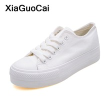 White Woman Casual Shoes 2019 Spring Autumn Female Canvas Shoes Thick Bottom Lace Up Ladies Flats Fashion High Quality Footwear цена