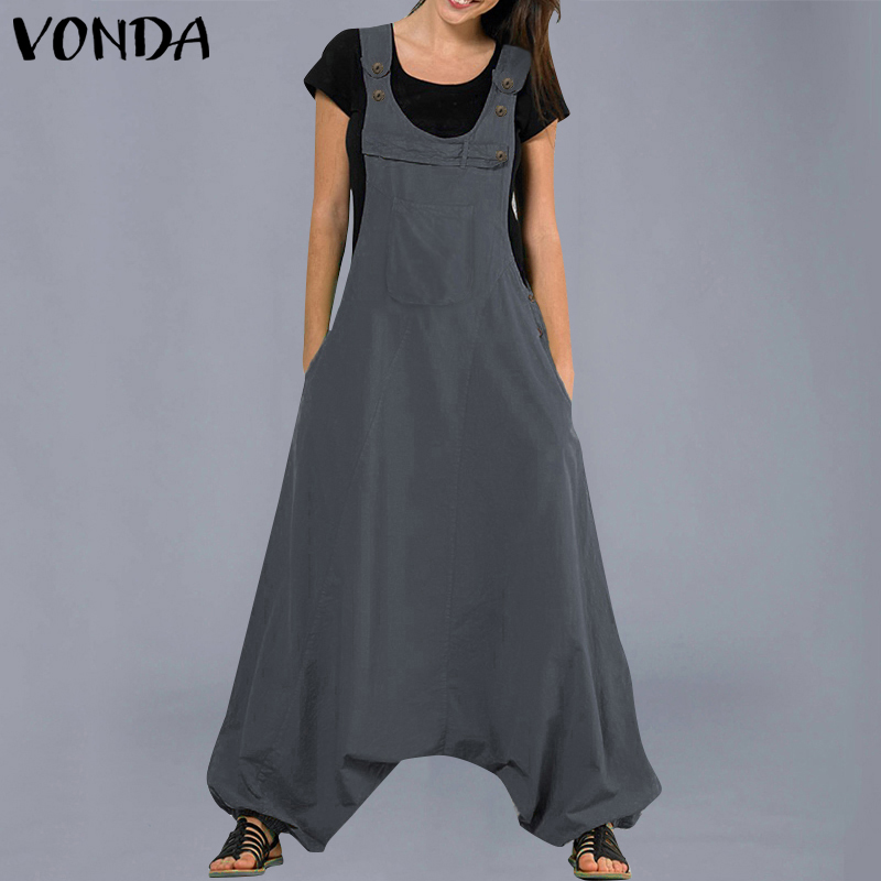 VONDA   Jumpsuits   Womens Rompers 2019 Summer Casual Cotton Harem Pants Sexy Sleevelss Long Playsuits Plus Size Trousers