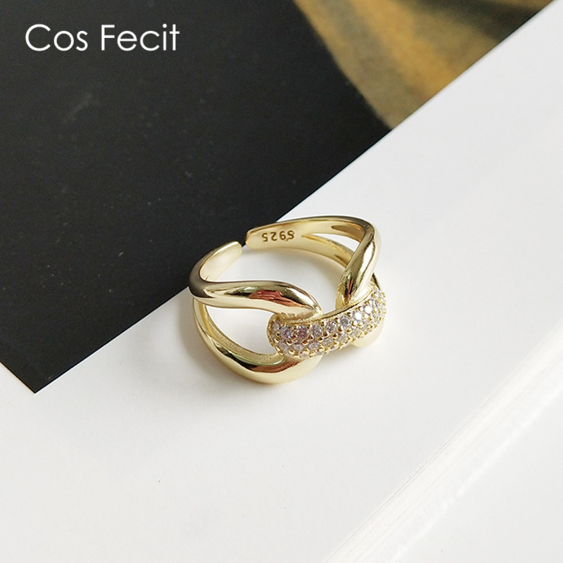 CosFecit Silver 925 Ring Zircon Opening Women Rings 925 Sterling Silver Gold Index Finger Ring Female Luxury Jewelry RS084CosFecit Silver 925 Ring Zircon Opening Women Rings 925 Sterling Silver Gold Index Finger Ring Female Luxury Jewelry RS084