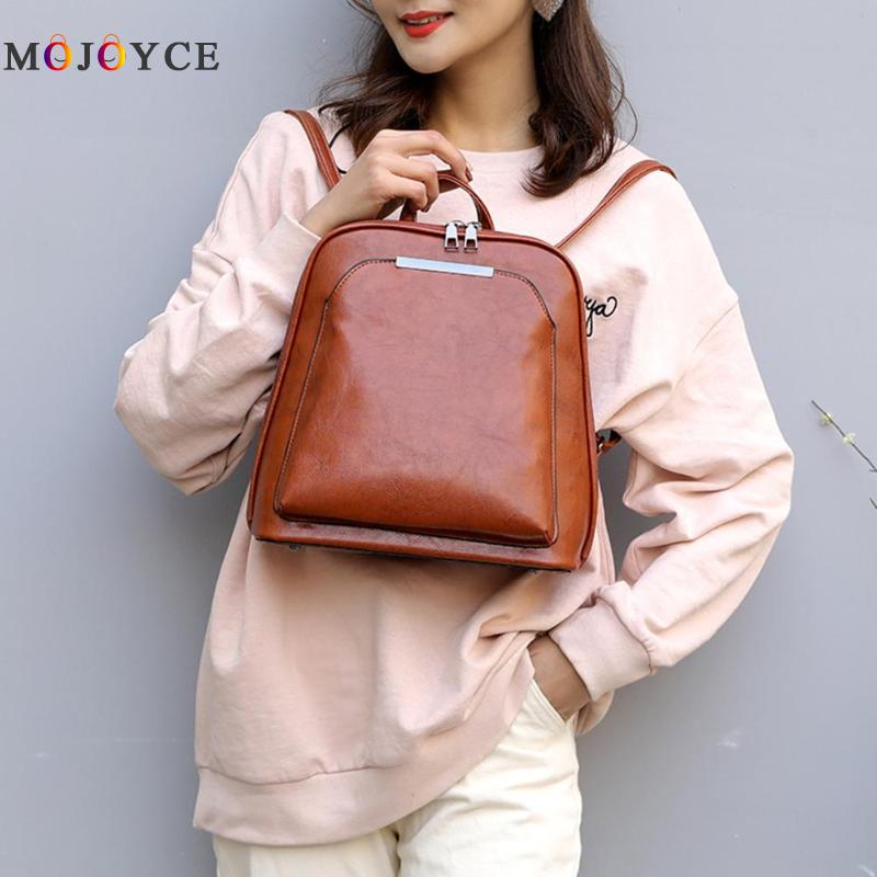 Vintage Oil Wax Leather Backpack Women Travel Satchel Casual Shoulder School Bagpack Female Back PackVintage Oil Wax Leather