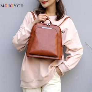 Vintage Oil Wax Leather Backpack Women Travel Satchel Casual Shoulder School Bagpack Female Back packVintage Oil Wax Leather(China)