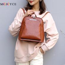 Vintage yağ Wax deri sırt çantası kadınlar seyahat Satchel Casual omuz okul sırt çantası kadın arka packVintage yağ balmumu deri
