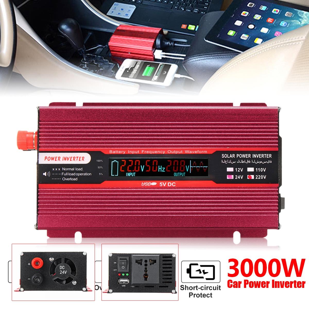 Пик 3000 Вт автомобиля Мощность инвертор 12/24 В к AC 220/110 В USB модифицированный синус преобразователь волна низкая Шум Напряжение трансформер кр...