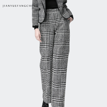 цена Loose Wide Leg Pants Women High Waist Office Ladies Pants Trousers Plaid 2018 Plus Size Warm Winter Trousers Long Pantalon