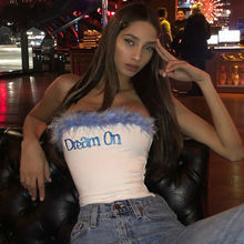 Sexy Women Strapless Blue Feather Sequined Letter Print Crop Top Vest Bra Boob