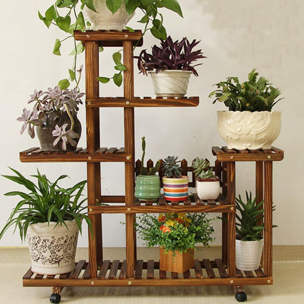 Indoor Outdoor Garden Decoration Gifts Tools With Wheels Bamboo Plant Flower Pot Stand Garden Planter Nursery Pot Stand ShelfIndoor Outdoor Garden Decoration Gifts Tools With Wheels Bamboo Plant Flower Pot Stand Garden Planter Nursery Pot Stand Shelf