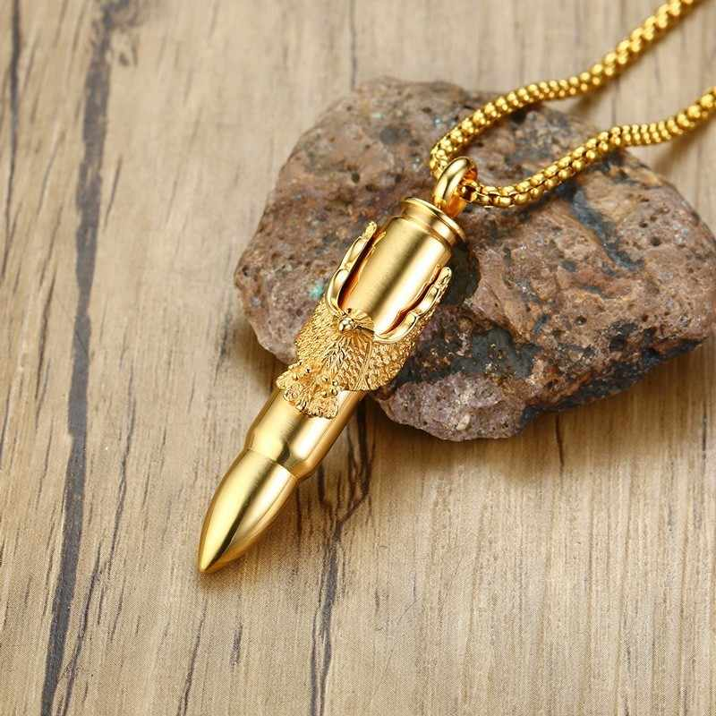 Men's Bullet Hawk Wing Eagle Pendant Necklace in Gold Stainless Steel Wing Eagle Hip Hop Jewelry 24inch Chain