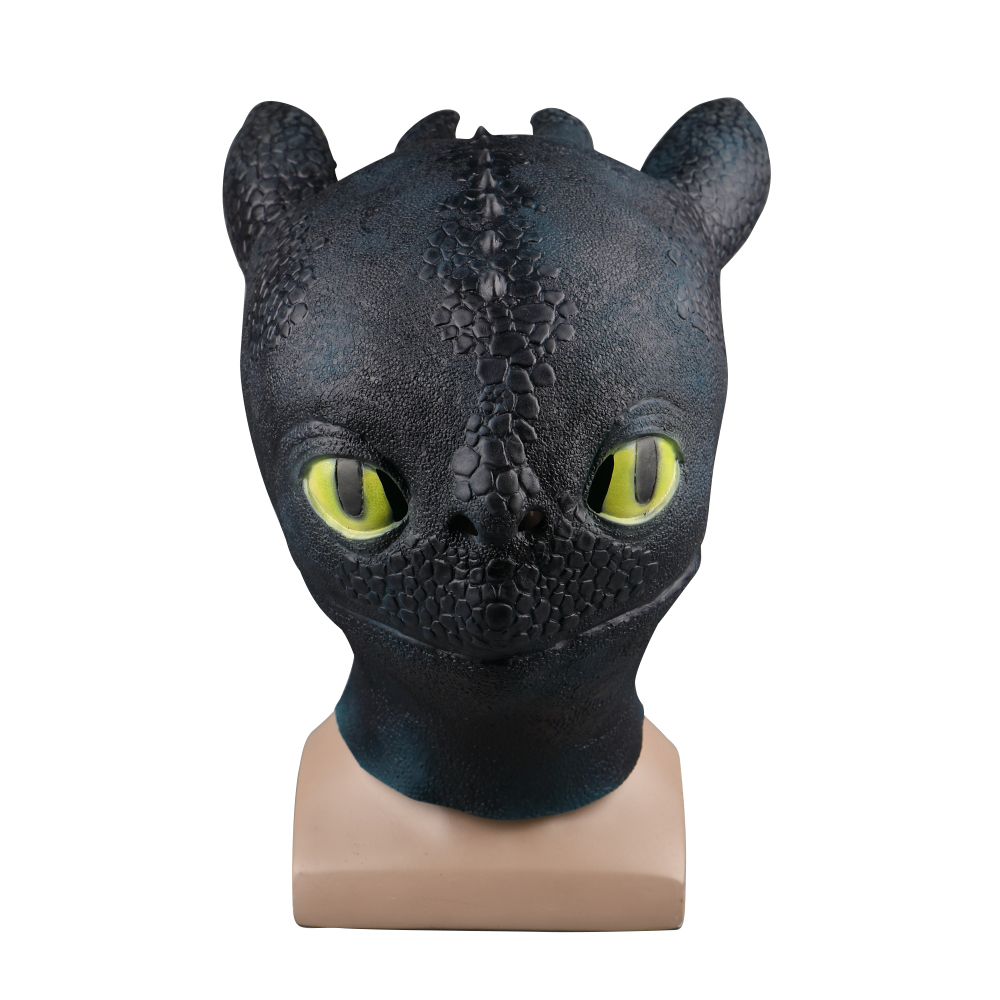 2019 Movie How To Train Your Dragon 3 The Hidden World Toothless Cosplay Face Masks Full Head Latex Black Adult Helmet Halloween