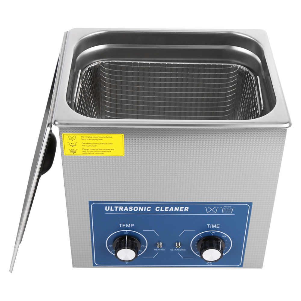 Aço Inoxidável Mecânica Ultra-sônica Bath 14L Aquecida & Temporizador Do Tanque Da Máquina De Limpeza com a Cesta Para Jóias Assista