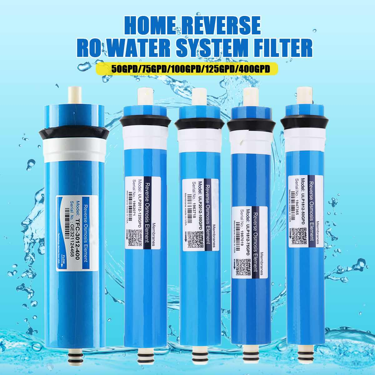 50/75/100/125/400GPD Home Kitchen Reverse Osmosis RO Membrane Replacement Water System Filter Water Purifier Drinking Treatment50/75/100/125/400GPD Home Kitchen Reverse Osmosis RO Membrane Replacement Water System Filter Water Purifier Drinking Treatment