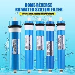 50/75/100/125/400gpd casa cozinha osmose reversa ro membrana substituição sistema de água filtro purificador água potável tratamento
