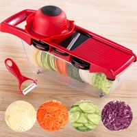 Mandoline Multi function Plastic Slicer Vegetable Cutter with Stainless Steel Blade Manual Potato Peeler Onion Carrot Grater|Graters| |  -
