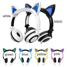 2019 Bluetooth Earphone Cat Ear Wireless Headphones microphone Flashing Glowing Headset With LED Light For PC Laptop Adult Kid все цены