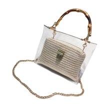 Transparent Bag For Women Handbag With Bamboo Handle Summer Small Chain Crossbody Bags Ladies Straw Beach Bags недорого
