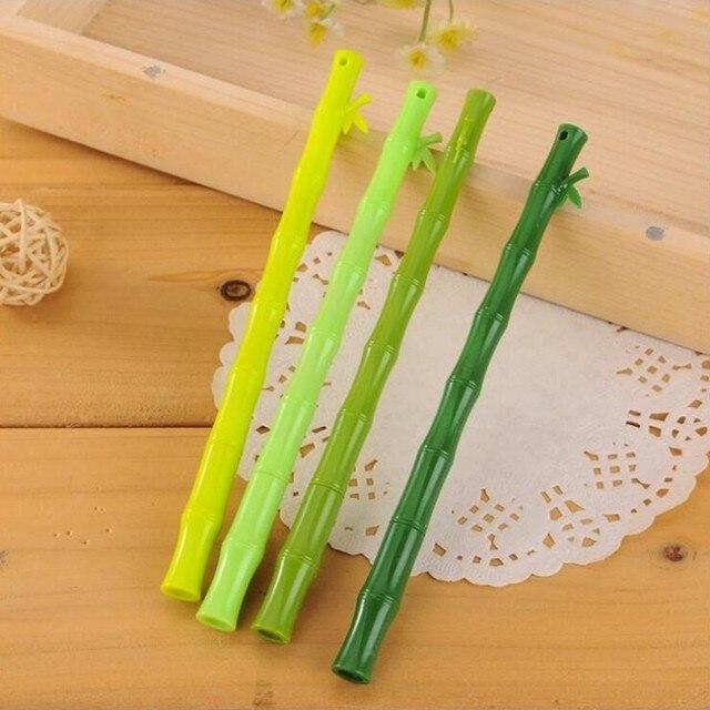 Usine fraîche bambou Gel de silice stylo bricolage bureau papeterie et fournitures scolaires lisse écriture noir encre stylo 0.5mm 1 pièces