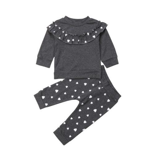 a12b9ba49 2 piezas ropa para bebés y niñas, ropa para niños, Camiseta con volantes,  Tops de manga larga, pantalones con estampado de volantes, conjunto de ropa  para ...