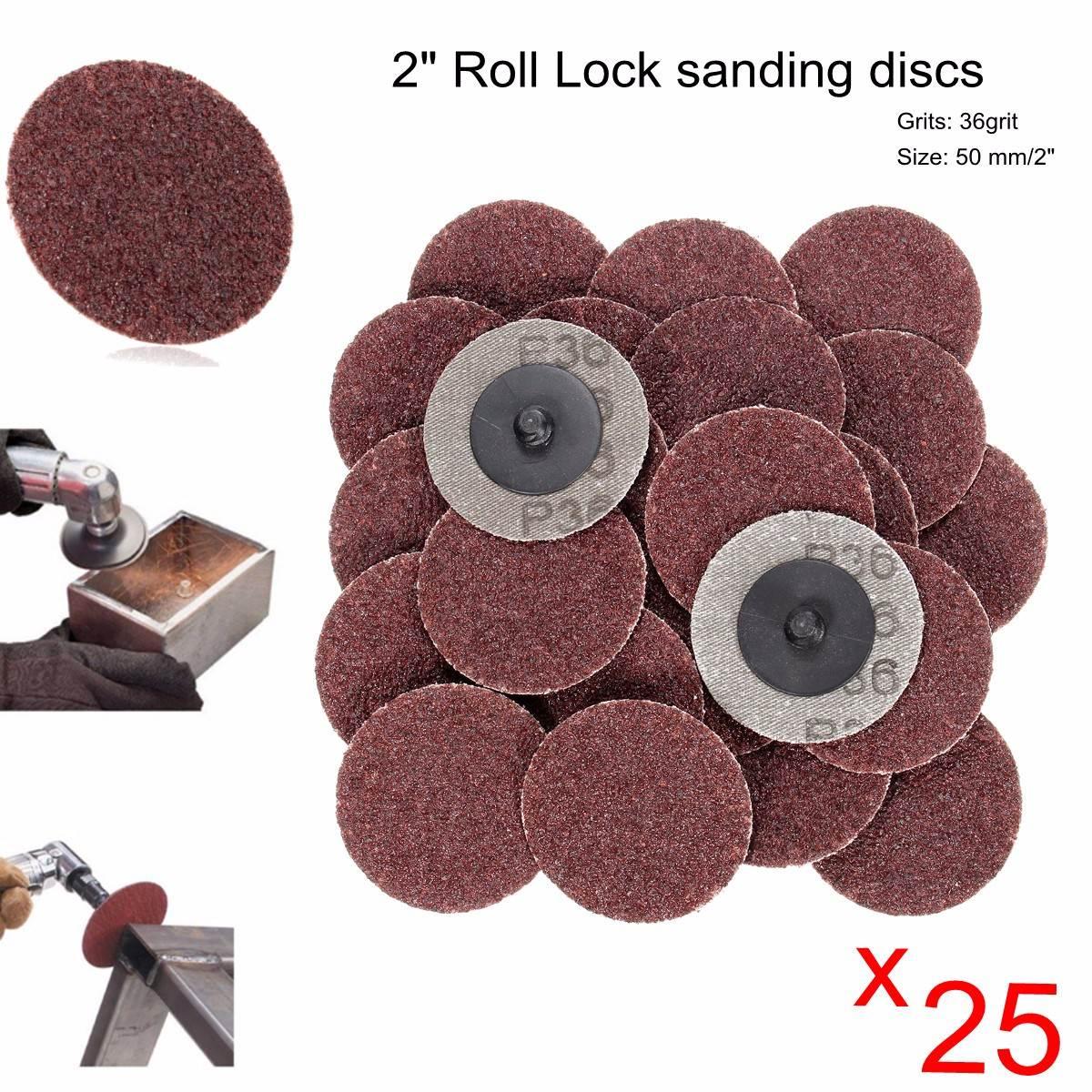 25pcs 2 Inch 36 Grit R-Type Abrasive Sanding Discs Roll Lock Sanding Disc