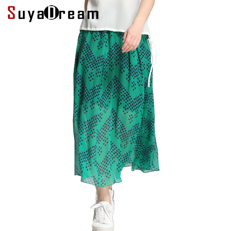 Women Skirt 100 Real Silk Printed Skirt for Women Dould layers A Line Long Skirts Elastic