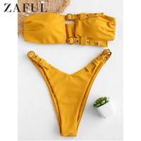ZAFUL Womens Sexy Off Shoulder Two Piece Bikini Swimsuit Cutout Top Padded String Side High Leg Cut Bathing Suit For Beach