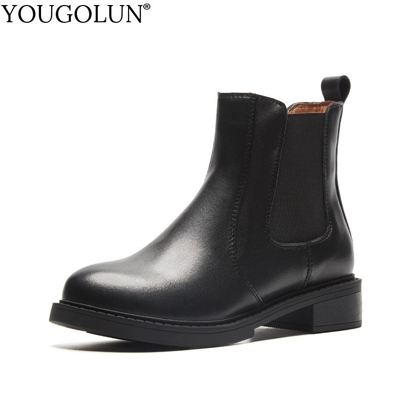 Shoes Ankle-Boots Low-Heel Autumn Genuine-Leather Fashion Women Spring Ladies Black A218