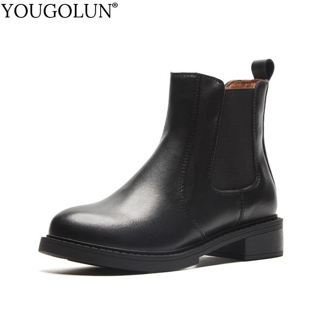 Genuine Leather Low Heel Ankle Boots Women Spring Autumn Ladies Low Heels Shoes A218 Fashion Woman Black Round Toe Ankle Boots