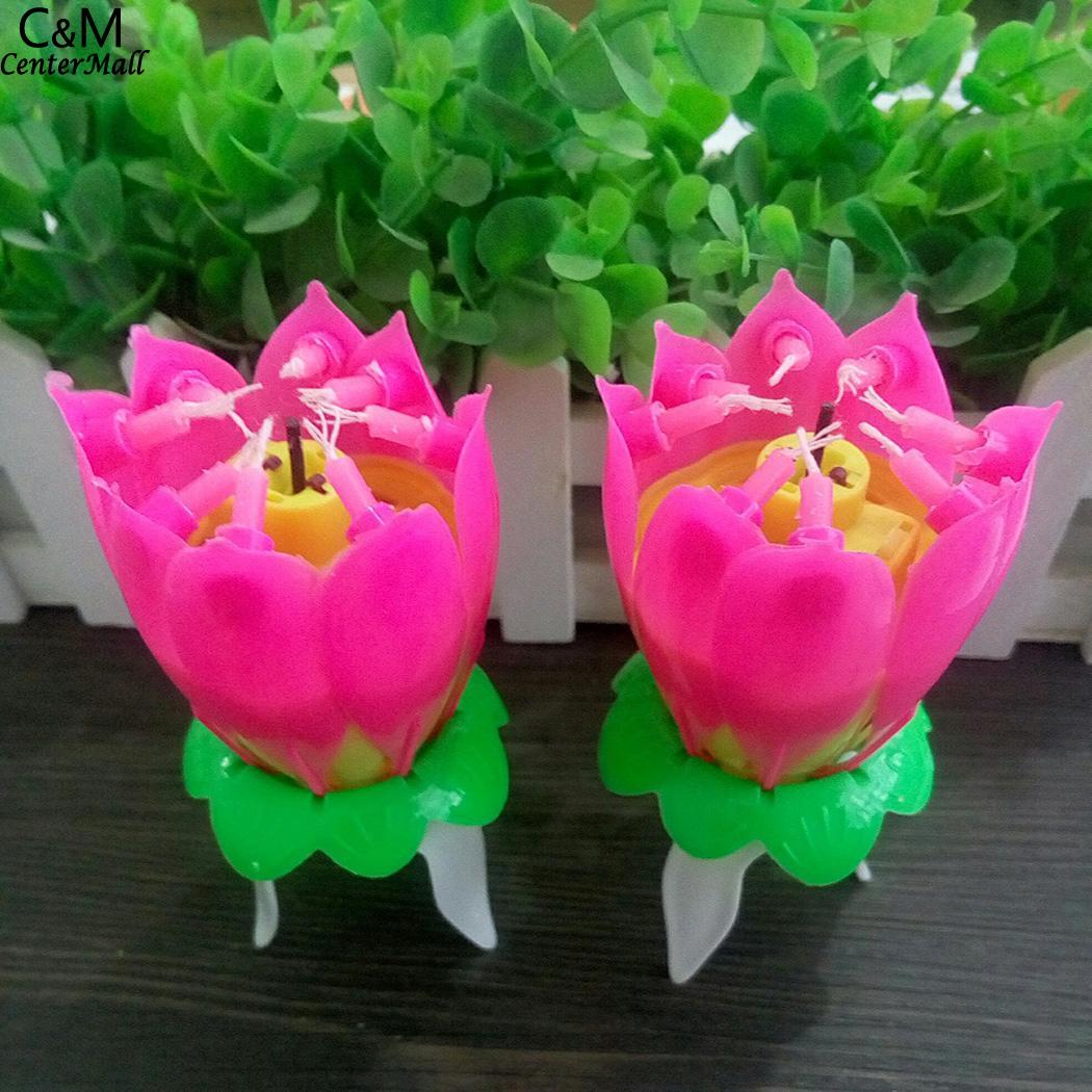 Мода цветок лотоса фестиваль торт ко дню рождения декоративные музыкальные свечи мода моделирование автоматического цветения без загрязн...