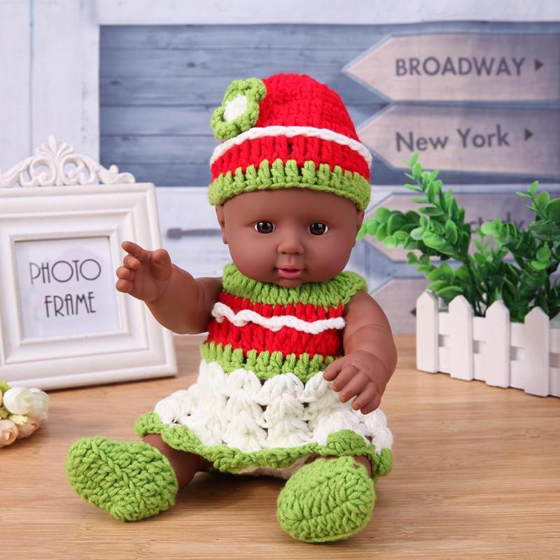 30cm Simulation Baby Schwarz Puppe Lebensechte Modell Afrikanische Puppen mit Stricken Kleid Puppe Spielzeug für Kinder Bildung Spielzeug Geburtstag geschenk