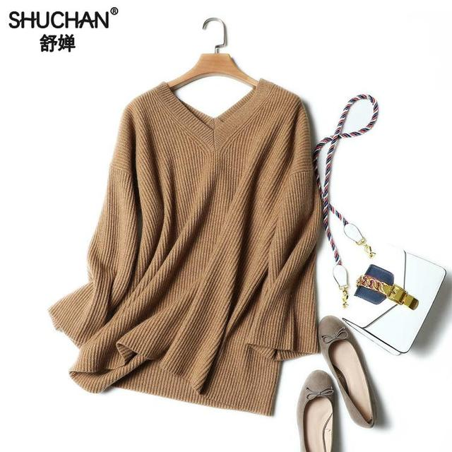 SHUCHAN Pullover Female V-neck Three Quarter Sleeve Solid Sweater Female Knitted Cashmere Sweaters For Women White 17530