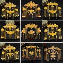 Geleneksel Çin saç aksesuarları Stil Vintage Çin Headdress Başlığı Altın Çin Saç Takı Gelin Taç Süsleme